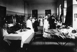 Decorated Salon at a Hospital with War Wounded, Doctors, Red Cross Nurses and Visitors Photographic Print by Carlo Wulz