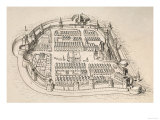 Antique Print of the Hungarian City of Bartsa, with Its Medieval Walls Giclee Print