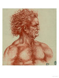 Study for a Male Head, Pen Drawing on White Paper Preserved at the Royal Library of Windsor Giclee Print by Leonardo da Vinci 
