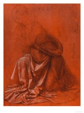 Study for the Folds of a Garment of a Female Figure Silverpoint Drawing Giclee Print by Leonardo da Vinci