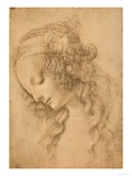 Study for the Face of the Virgin Mary of the Annunciation Now in the Louvre Reproduction procédé giclée par Leonardo da Vinci