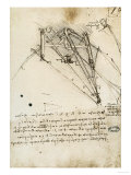 The Rudder of a Wing, Institut De France, Paris Giclée-Druck von Leonardo da Vinci