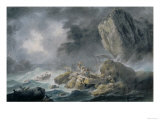Storm and Shipwrecks, Painting Held at the Palatine Gallery, Palazzo Pitti, Florence Giclee Print by Pilment Giovanni Battista