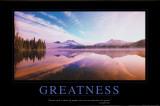 Grootsheid, natuurafbeelding met Engelse tekst: Greatness Poster