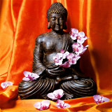 Buddha with Flowers Kunstdruck von Stephane De Bourgies