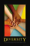 Verscheidenheid, poster van verschillende handen op elkaar met Engelse tekst: Diversity Posters