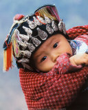 Miao Baby Wearing Traditional Hat Print by Keren Su