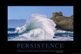 Volharding, trappen op rennen, met tekst: Persistence Poster