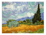Champ de blé avec cyprès, vers 1889 Art par Vincent van Gogh