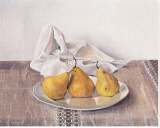 Three Pears On a Plate Stretched Canvas Print by Arthur Easton