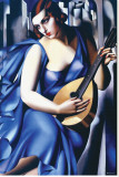 Woman in Blue with Guitar Reproduction transférée sur toile par Tamara de Lempicka
