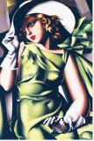 Ung flicka och grönt Sträckt Canvastryck av Tamara de Lempicka