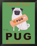 Pug Orange Juice Posters by Ken Bailey