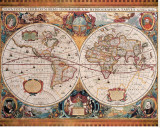 Antique Map, Geographica, c.1630 Stretched Canvas Print by Henricus Hondius