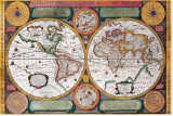 Antique Map, Terre Universelle, 1594 Stretched Canvas Print by Petro Plancio