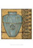 Square Cerulean Pottery II Print by Chariklia Zarris