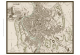 Sepia Map of Rome Posters