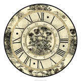 Antique Floral Clock Giclee Print