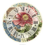 Cottage Rose Clock Giclee Print