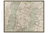 Sepia Map of New York Art