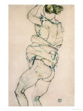 Standing Semi-Nude with Raised Left Arm, 1914 Giclee Print by Egon Schiele