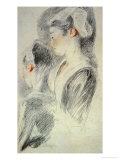 Two Studies of a Young Woman, Red Chalk, Pencil Giclee Print by Jean Antoine Watteau