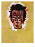 Self-Portrait (Head), 1910 Giclee Print by Egon Schiele