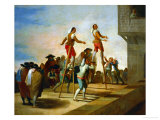 The Stilts Cartoon for a Tapestry at the Prado Giclee Print by Francisco de Goya