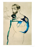 Painter Gustav Klimt in His Blue Painter&#39;s Smock, 1913 Reproduction proc&#233;d&#233; gicl&#233;e par Egon Schiele