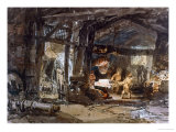 An Iron Foundry 1798, Watercolour on Paper Giclee Print by William Turner