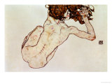 Egon Schiele - Crouching Nude, Back View, 1917 - Giclee Baskı