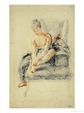 Young Woman, Nude, Holding One Foot in Her Hands, Red and Black Chalk Giclee Print by Jean Antoine Watteau