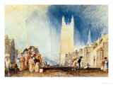 Stamford, Lincolnshire, Circa 1828, Watercolour on Paper Giclee Print by William Turner