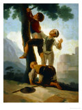 Boys Climbing a Tree Cartoon for a Tapestry at the El Escorial; 1791-92 Giclee Print by Francisco de Goya