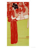 Music, A Woman Playing the Lyre Giclee Print by Gustav Klimt
