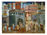 The Blessings of Good Government (Detail), Mural Giclee Print by Ambrogio Lorenzetti