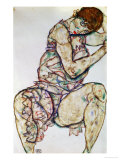 Seated Woman with Left Hand in Hair, 1914 Giclee Print by Egon Schiele