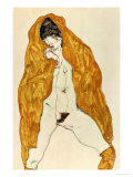 Upright Nude with Spread Legs and Yellow-Brown Shawl, 1914 Giclee Print by Egon Schiele