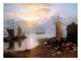 Sun Rising Through Vapour: Fishermen Cleaning and Selling Fish Reproduction procédé giclée par William Turner