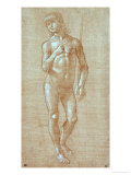 Nude Young Man, Full Face, Holding a Staff (Saint John Baptist) Giclee Print by Lorenzo di Credi