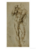 Nude Male Figure Seen Frontally, circa 1502-1506 Lmina gicle por Michelangelo Buonarroti