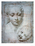 Heads of the Virgin and Child, 1508-1510, Silverpoint on Orange-Pink Paper Giclee Print by Raphael