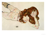 Female Nude on Her Stomach, 1917 Reproduction proc&#233;d&#233; gicl&#233;e par Egon Schiele