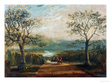 Coach on Road Through Dale, Moors Behind Giclee Print by William Turner