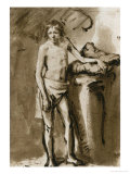 Male Nude, Upright, Around 1646 Giclee Print by  Rembrandt van Rijn