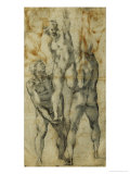 Two Male Nudes Lifting up a Third Man Giclee Print by  Michelangelo Buonarroti