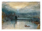 Lucerne by Moonlight: Sample Study, Circa 1842-3, Watercolour on Paper Giclée-tryk af J. M. W. Turner