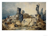 Two Young Women Drawing the Ruins of Rome Reproduction procédé giclée par Hubert Robert