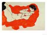 Reclining Female Nude on Red Drape, 1914 Giclée-Druck von Egon Schiele