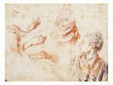 Study, Red Chalk Drawing, Pencil and Black Chalk Giclee Print by Jean Antoine Watteau